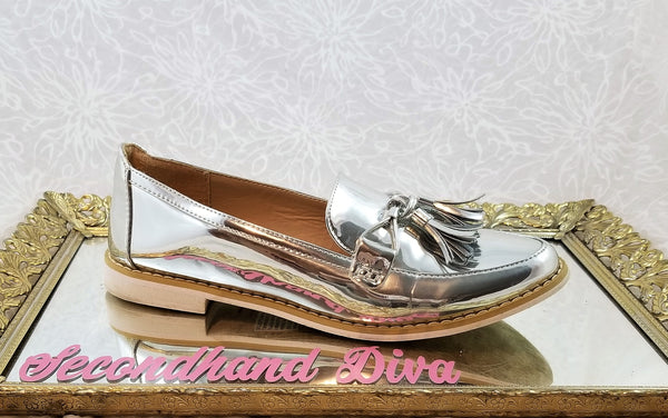 Just Fab mirrored penny loafers