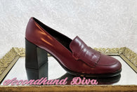 Coach burgundy leather heeled Felice loafers