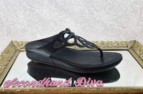 Fitflop black rubber wedges