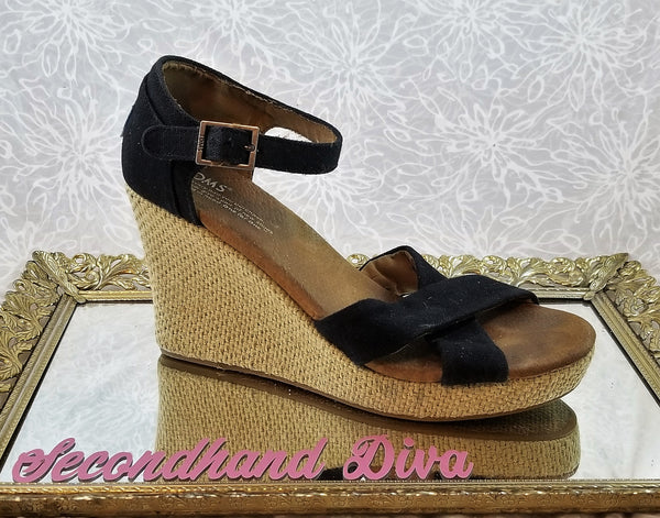 Toms black canvas wedges
