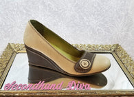 Fly London two-tone leather wedges