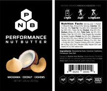 Performance Nut Butter: Macadamia, Coconut & Cashew Blend (3 Boxes of 10 Packets)