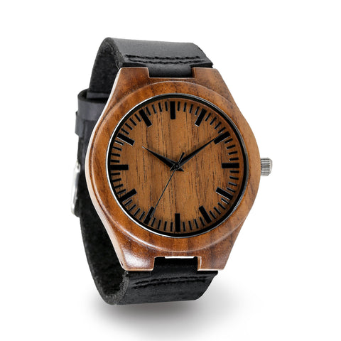Wooden Watch with Leather Band - Baccar Walnut
