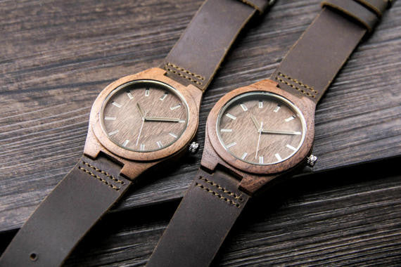 Wooden Watch with Leather Band - Chrome Polso Walnut