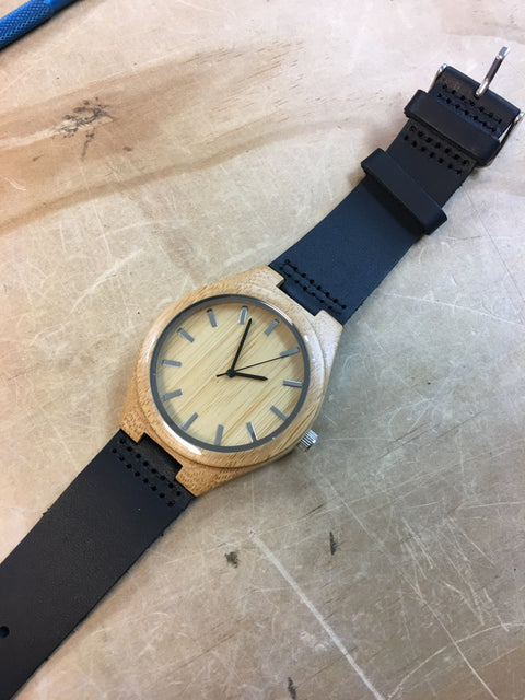 Wooden Watch with Leather Band