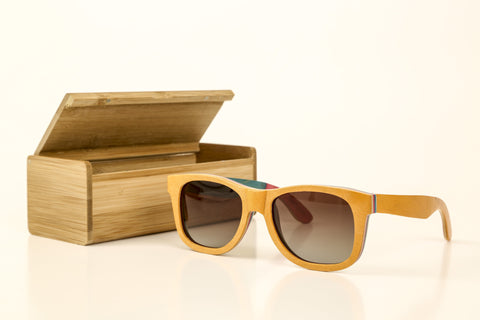 Sail Along Sunglasses - Tan Skateboard Laminated Wood