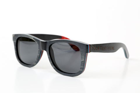 Sail Along Sunglasses - Black Skateboard Laminated Wood