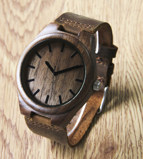 Wooden Watch with Leather Band - Polso Walnut