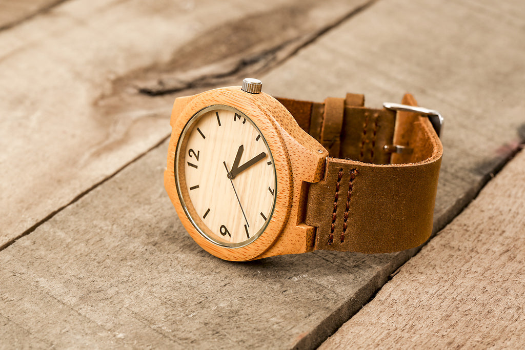 Wooden Watch with Leather Band - Polso Bamboo
