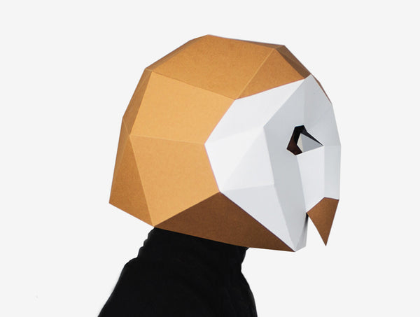 BARN OWL MASK <br> DIY Paper Mask Template