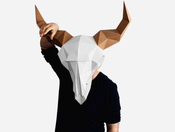 BISON SKULL MASK <br> DIY Paper Mask Template