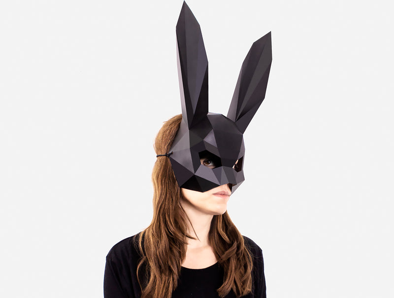 BUNNY HALF MASK - RABBIT HALF MASK <br> DIY Paper Mask Template