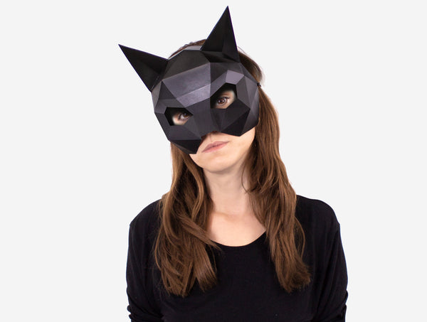 CAT HALF MASK - KITTEN HALF MASK <br> DIY Paper Mask Template