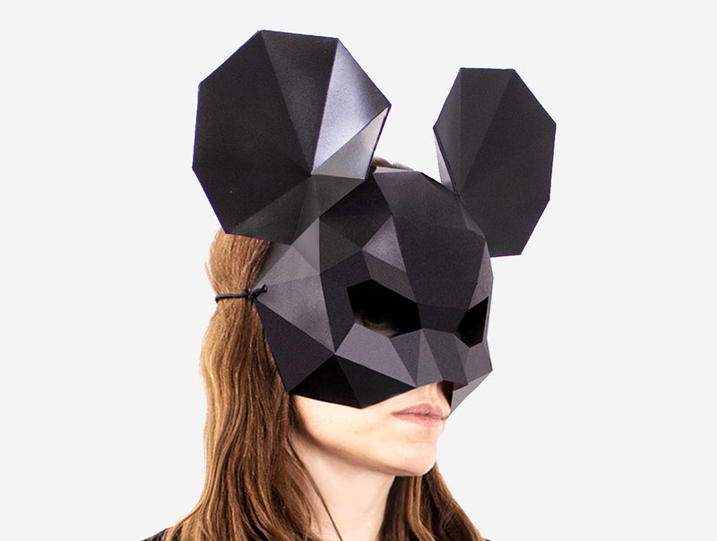 MOUSE HALF MASK <br> DIY Paper Mask Template