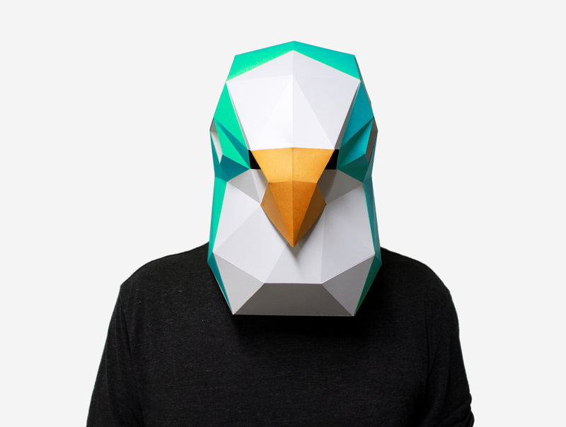 BUDGIE BIRD MASK <br> DIY Paper Mask Template