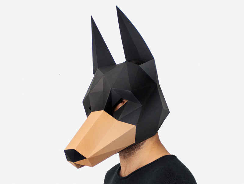 DOBERMAN MASK <br> DIY Paper Mask Template
