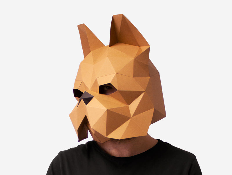 FRENCH BULLDOG <br> DIY Paper Mask Template