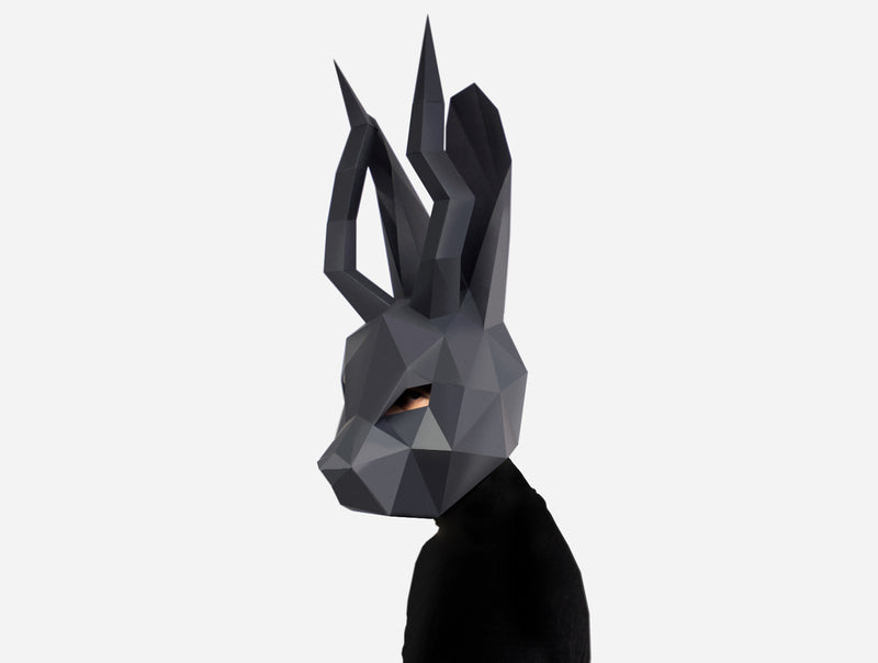 Jackalope <br> DIY Paper Mask Template