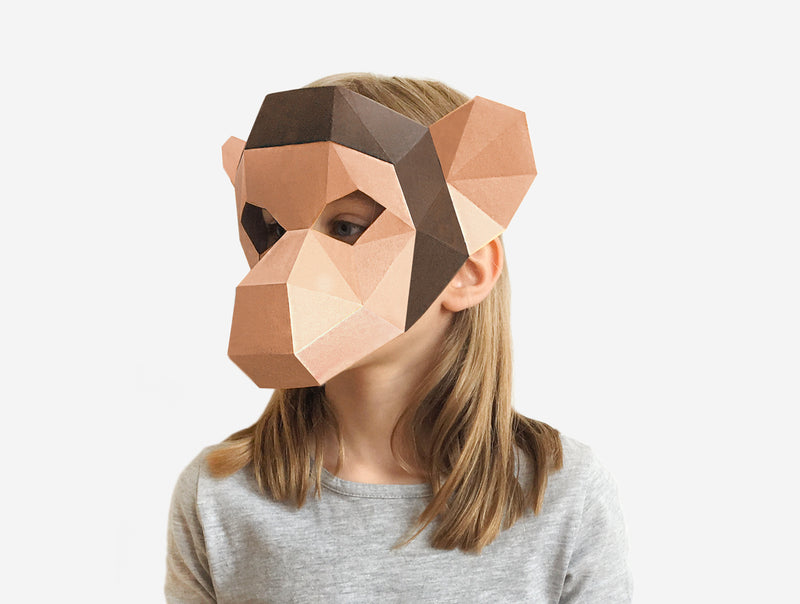 KIDS MONKEY <br> DIY Paper Mask Template