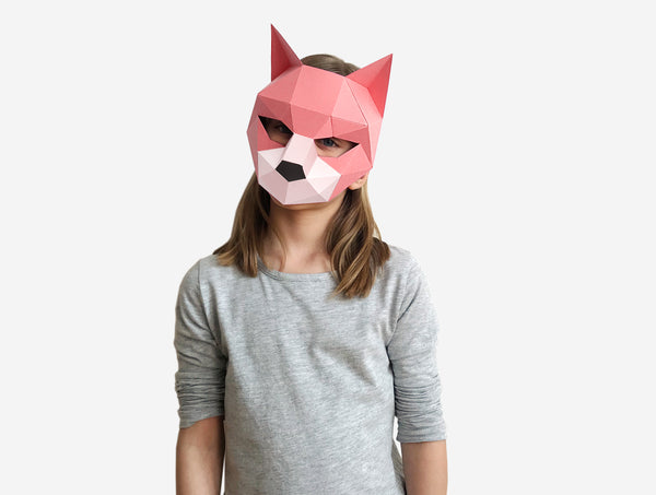 KIDS CAT <br> DIY Paper Mask Template