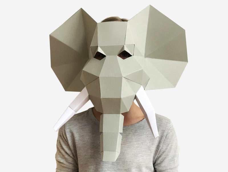 KIDS ELEPHANT <br> DIY Paper Mask Template