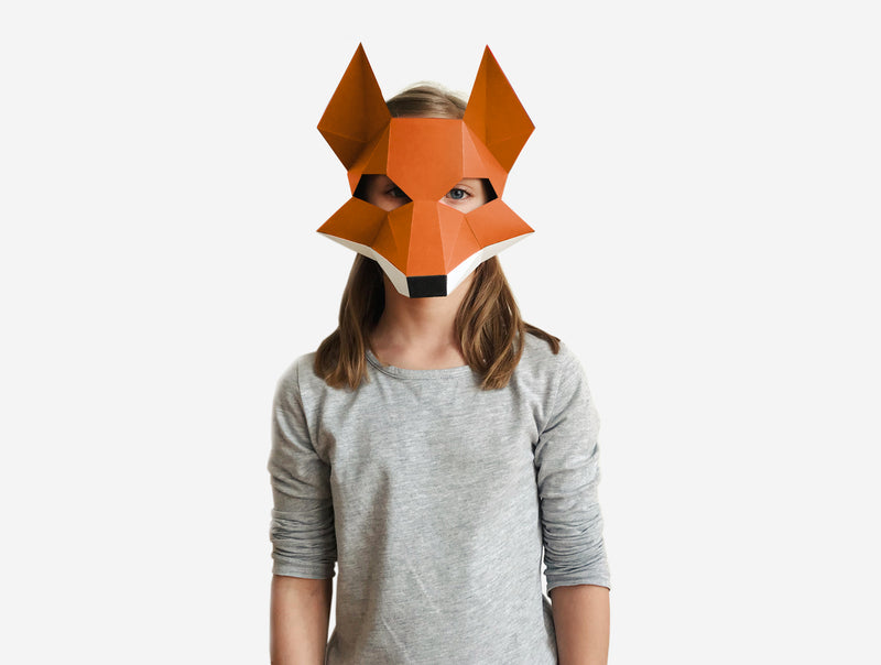 KIDS FOX <br> DIY Paper Mask Template