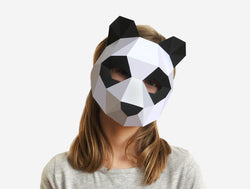 KIDS PANDA <br> DIY Paper Mask Template