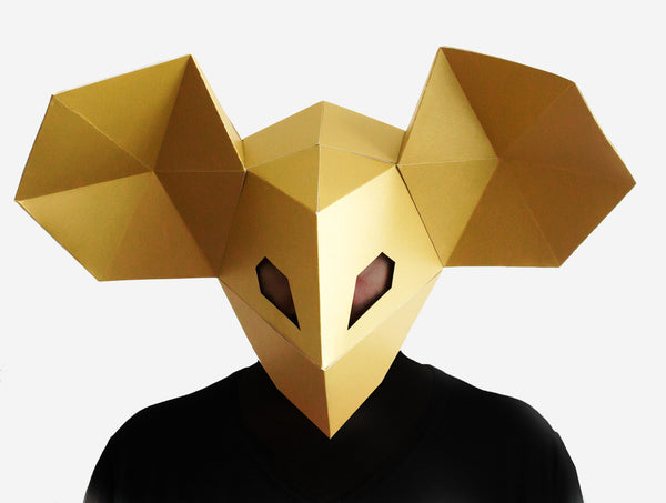 DJ MOUSE MASK <br> DIY Paper Mask Template