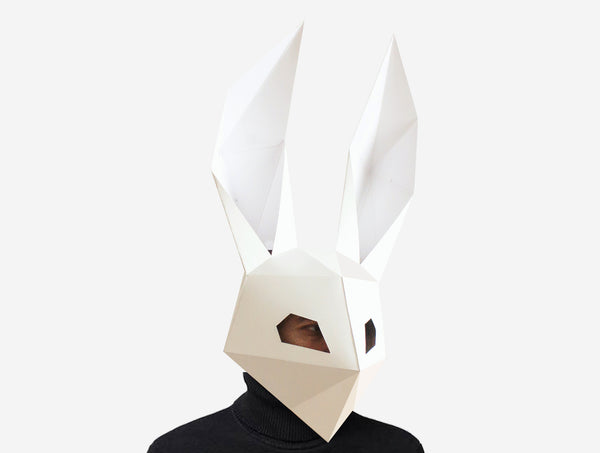 DJ RABBIT MASK <br> DIY Paper Mask Template