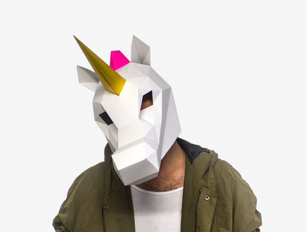RAINBOW UNICORN <br> DIY Paper Mask Template