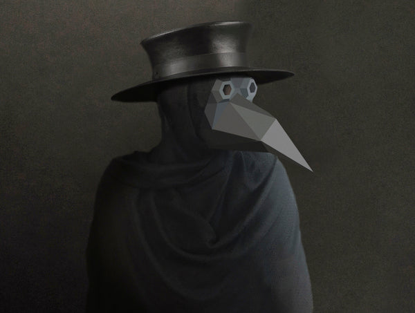 PLAGUE DOCTOR STEAMPUNK <br> DIY Paper Mask Template
