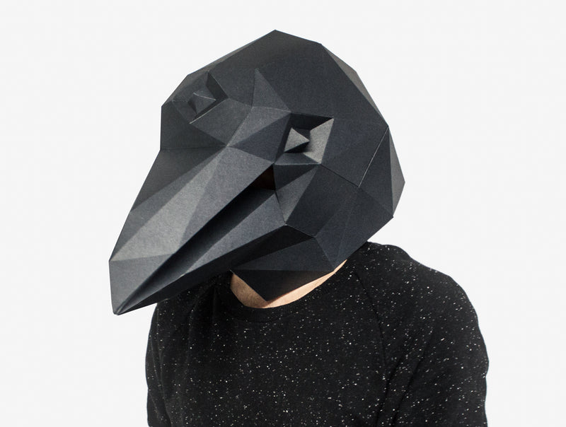 RAVEN CROW <br> DIY Paper Mask Template