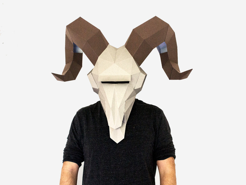 RAM SKULL <br> DIY Paper Mask Template