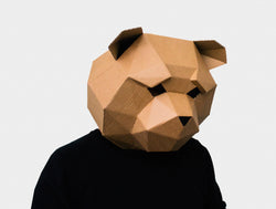 TEDDY BEAR MASK <br> DIY Paper Mask Template