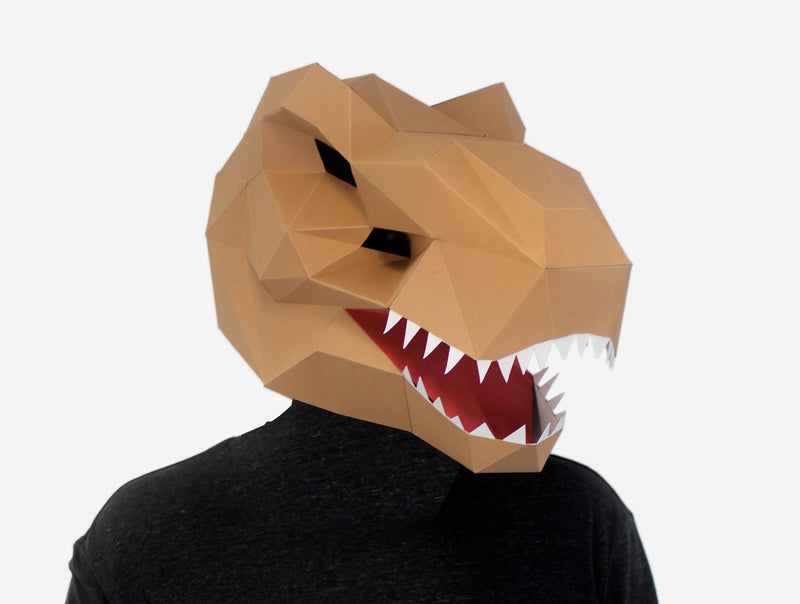 image relating to Dinosaur Mask Printable identified as T-REX DINOSAUR Do it yourself Paper Mask Template Lapa Studios