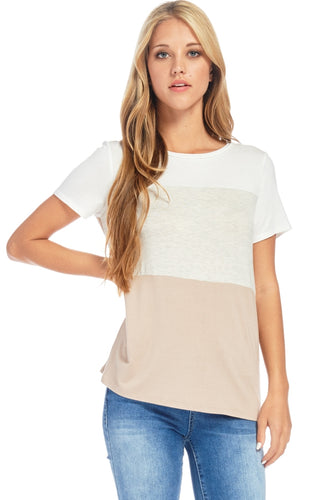 Oatmeal Color Block T Shirt