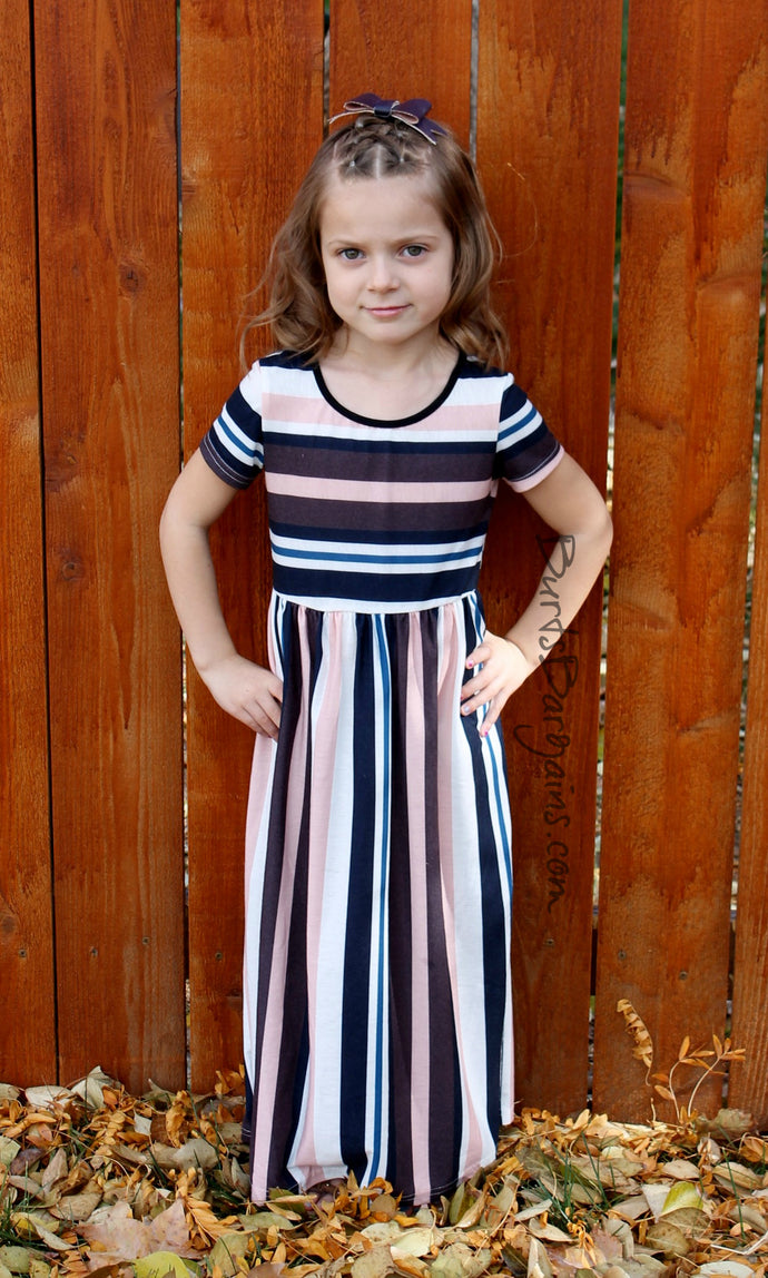Girl's Cotton Short Sleeve Striped Maxi Dress