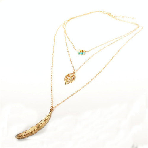 3 Layer Chain Necklace With Feather Pendant - Burt's Bargains
