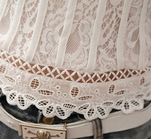 White Lace Blouse with Stand Collar - Burt's Bargains