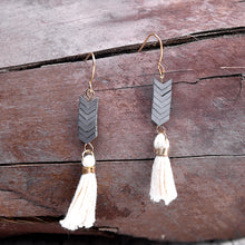 Bohemian Beige Tassel Earrings With Natural Chevron Stone and Vintage Gold Hooks - Burt's Bargains