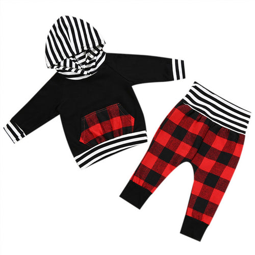 Baby Boy Plaid Hoodie and Sweat Pants 2 Piece Set