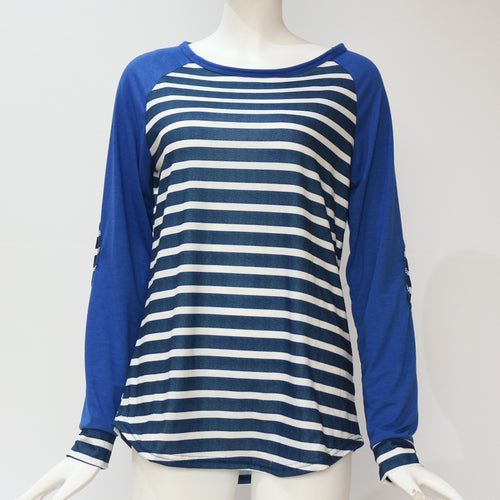 Long Sleeved Striped Baseball T Shirt With Elbow Patches