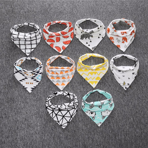 Soft Cotton Baby Bandanna Bibs - 4 Pieces