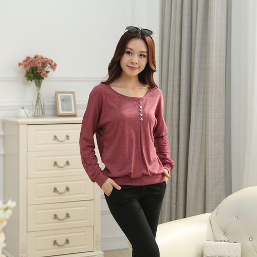 Casual Loose Bat Sleeve Cotton T Shirt