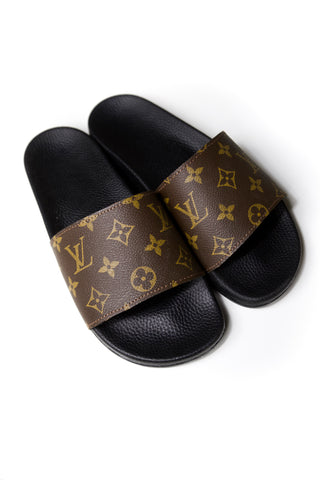 Custom Grey Louis Vuitton scarf Slides