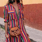 Colorful Striped Buttoned Maxi Dress