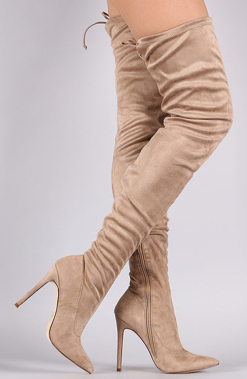 Sugar Daddy Tie Up Booties - Taupe
