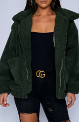Oversized Teddy Coat - Khaki