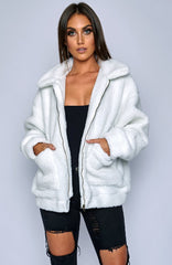 Oversized Teddy Coat - White