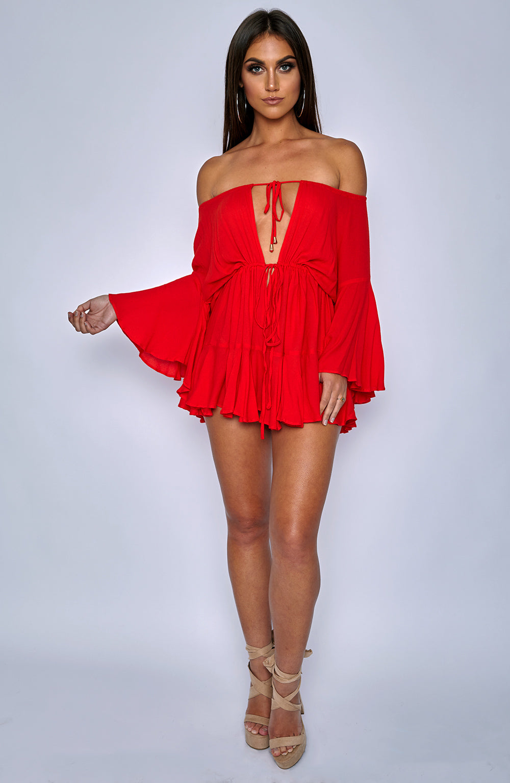 Tatiana Playsuit - Red